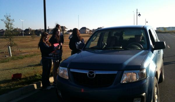 S.A.D.D. Members Patrol for Seat Belt Safety